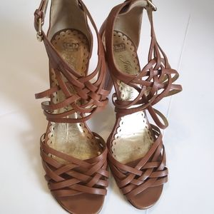 Juicy Couture Tan Leather Strappy Heels 9M